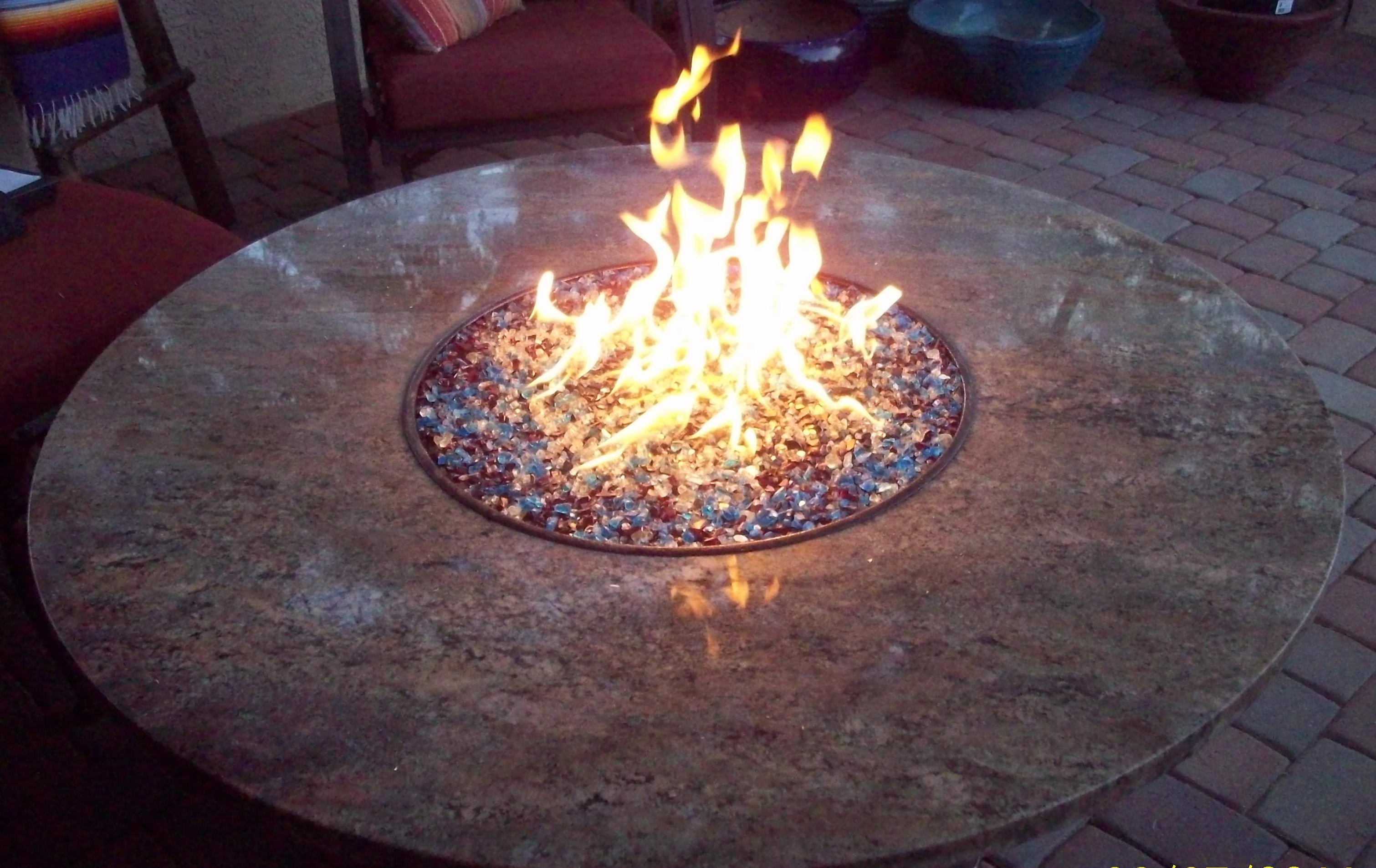 Outdoor Fire Pit with Granite Top and Glass