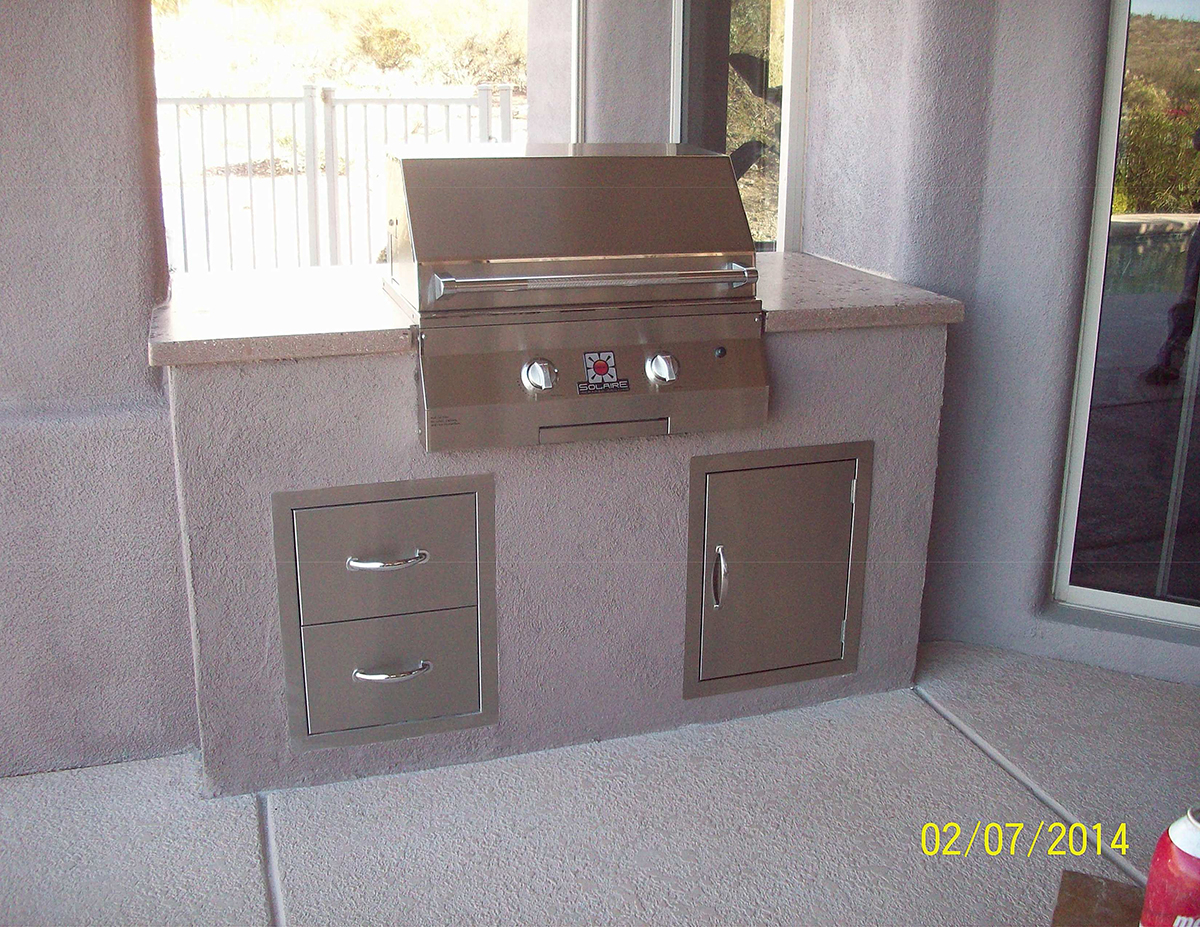 Solaire BBQ with Honed Concrete Countertop